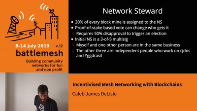 Incentivised Mesh Networking with Blockchains